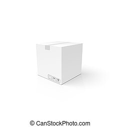 White 3D box. Clean closed carton package. Mockup template for your product.