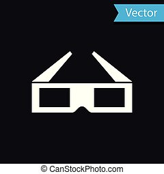 White 3D cinema glasses icon isolated on black background. Vector Illustration