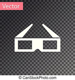 White 3D cinema glasses icon isolated on transparent background. Vector Illustration