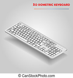 White 3d computer keyboard vector