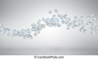 White 3D cubes abstract loopable background