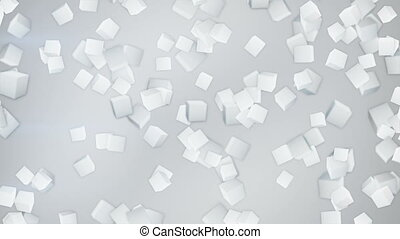 white 3D cubes flying down loopable