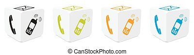 White 3D Cubes Set with Colored Mapped Icons - Telephone, E-Mail, Mobile Phone