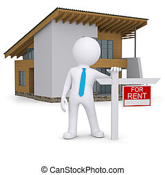 White 3d human and small house with sign a lease. Isolated...