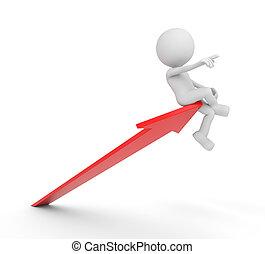 White 3D human guiding a red arrow