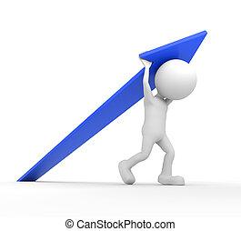 White 3D human lifting a blue arrow