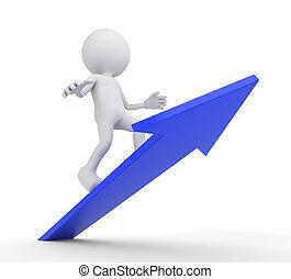 White 3D human on a blue arrow