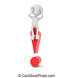 White 3d human sitting on a red exclamation mark