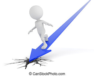 White 3D human surfing on a blue arrow