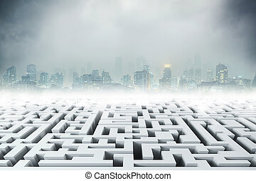 White 3D labyrinth and night city