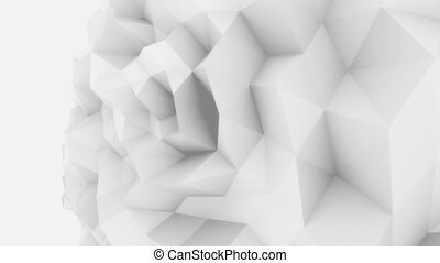 White 3D low poly edgy sphere motion background for modern...