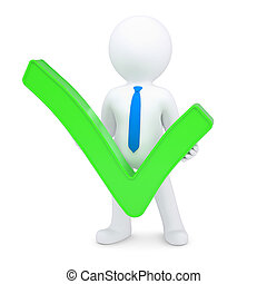 White 3d man with a green tick
