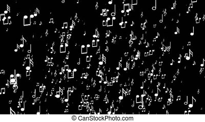 White 3d music notes. Black background - Animated falling...