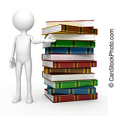 White 3d person with  books