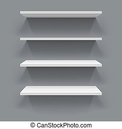 White 3D shelves with grey wall background.