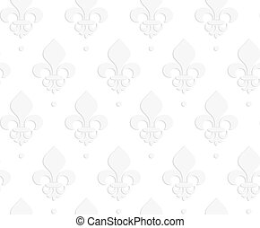 White 3D solid Fleur-de-lis.Seamless geometric background....