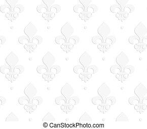 White 3D solid Fleur-de-lis.Seamless geometric background....