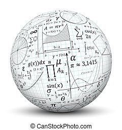 White 3D Sphere - Ball with Math Symbol Texture - 3D White...