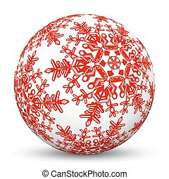 White 3D Sphere with Mapped Red Snowflake Texture