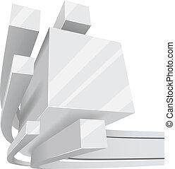 White 3D square rails