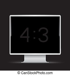 white 4 to 3 monitor black background