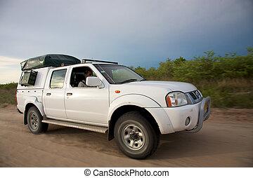 White 4x4 offroad in the kalahari desert
