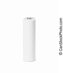 White AA battery on white