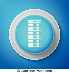 White Abacus icon isolated on blue background. Traditional counting frame. Education sign. Mathematics school. Circle blue button with white line. Vector Illustration