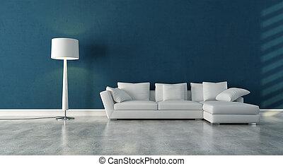white abd blue enterior