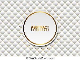 White abstract background with gold border circles on background pattern.