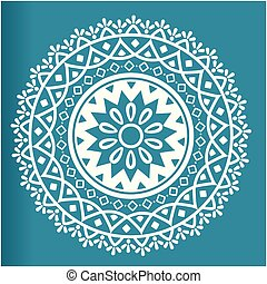 White Abstract Circle Mandala Blue Background Vector Image