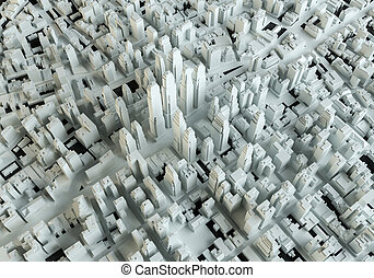 White abstract city. View from above