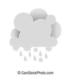 white abstract cloud with rain icon