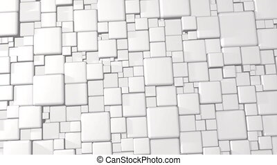 White Abstract Cubes 3d Background In 4k