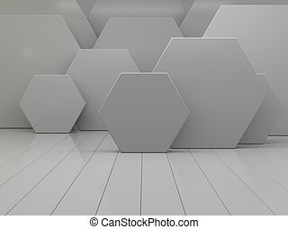 White abstract geometric hexagonal abstract background. 3D