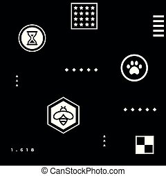 White abstract geometric hipster pattern with simple shapes - paw, bee, stars, squares, 1,618 golden ratio, checkerboard, hourglass on black background