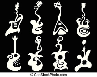 white abstract guitar on black background