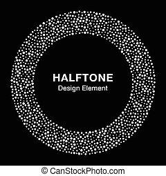 White Abstract Halftone Circle Logo Design Element on black background