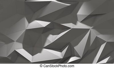 White abstract low poly triangle background with shadow 4k