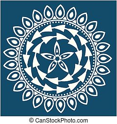 White Abstract Mandala Blue Background Vector Image