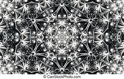 white abstract ornament consisting of fractal spirals and various patterns