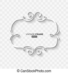 White Abstract Retro Vintage Frame Banner Template with Flat Design Shadow