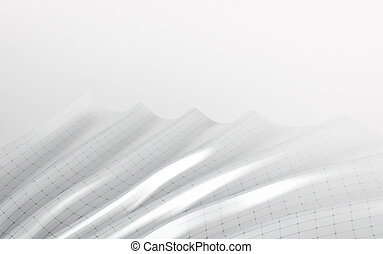 White abstract shape with connecting dots and lines on white background. 3d render