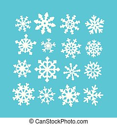 White abstract snowflakes vector collection on blue background