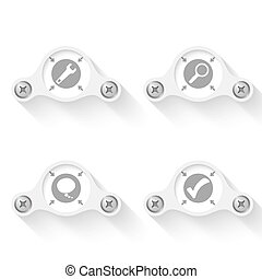 white abstract vector objects and icons