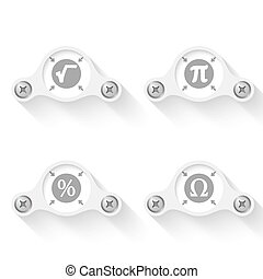 white abstract vector objects and math icons