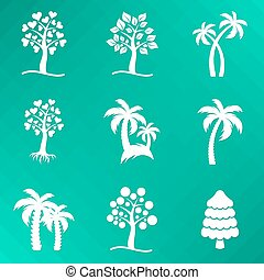 White abstract vector tree icons