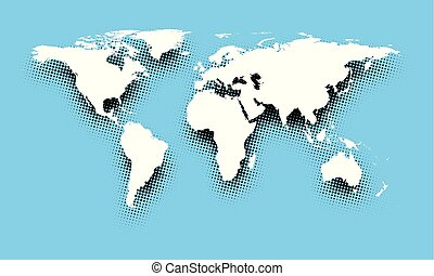White abstract world map on blue.