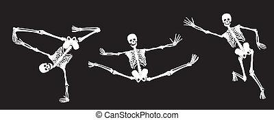 White active skeletons on black. Se