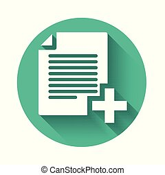 White Add new file icon isolated with long shadow. Copy document icon. Green circle button. Vector Illustration
